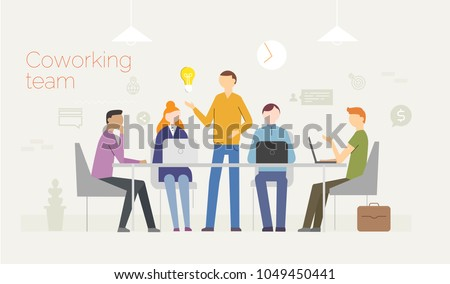 Coworking. Business concept with young people using laptops