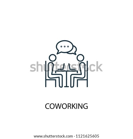 Coworking concept line icon. Simple element illustration. Coworking concept outline symbol design from startup set. Can be used for web and mobile UI/UX