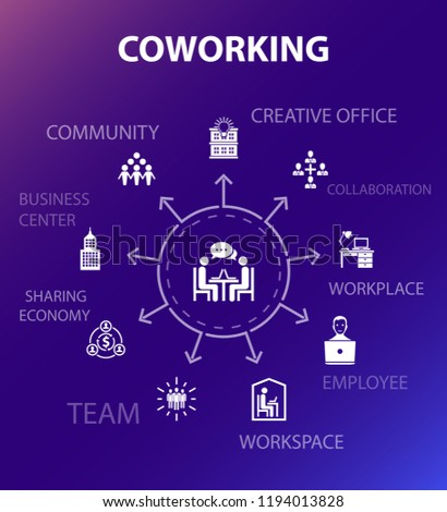 coworking concept template. Modern design style. Contains such icons as creative office, collaboration, workplace, sharing economy
