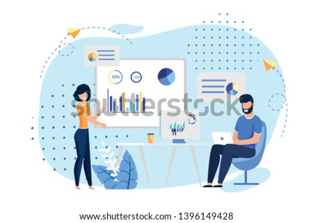 Coworking Office and Employees Sharing Working Space. Man Typing on Laptop, Woman Reports Standing near Presentation Board. Business Meeting, Conference, Formal discussion. Vector Flat Illustration