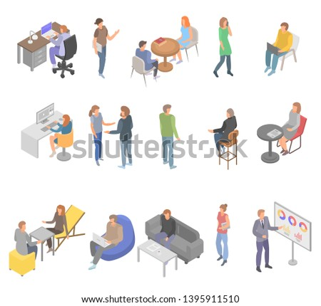 Coworking office business icons set. Isometric set of coworking office business vector icons for web design isolated on white background