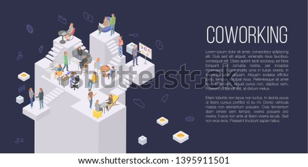 Coworking office concept background. Isometric illustration of coworking office vector concept background for web design