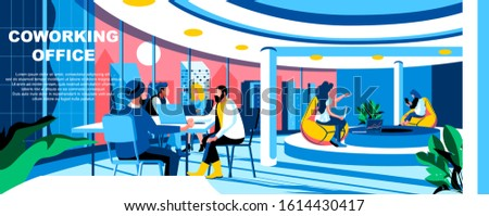 Coworking office flat vector landing page template. Contemporary open corporate space banner layout with header. Employees modern collaboration workplace cartoon illustration with text space