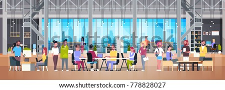 Coworking Office Group Of Creative People Working Together In Modern Coworker Center Flat Vector Illustration