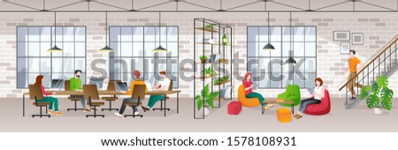Coworking office loft interior with working people. Vector trendy flat illustration. Creative working space, freelancers workplace.
