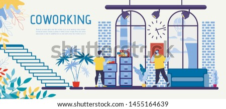 Coworking Office, Open Space Business Center with Rental Workplaces Flat Vector Advertising Banner, Poster Template with Entrepreneur, Freelancer Working with Documents, Calling Clients Illustration