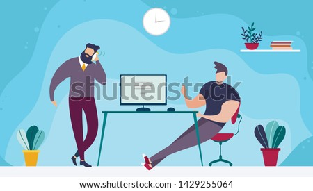 Coworking Office Space and People Working Together. Cartoon Bearded Man Talking Phone and Male Coworker Sitting at Table with Computer Wants to Appeal. Vector Sharing Open Workspace Flat Illustration