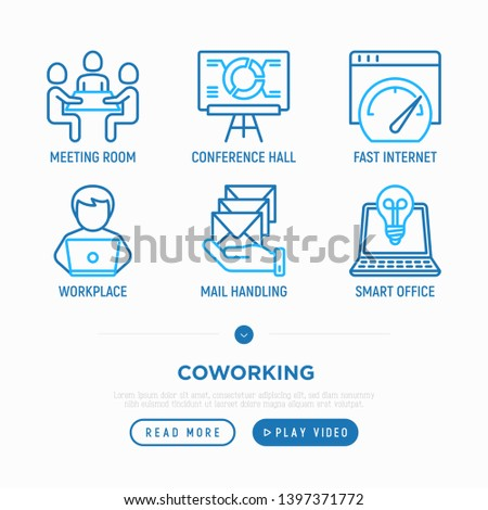 Coworking office thin line icons set: meeting room, conference hall, workplace, mail handling, smart office. Vector illustration.