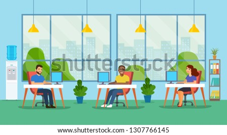 Coworking office with people. Vector flat style illustration.