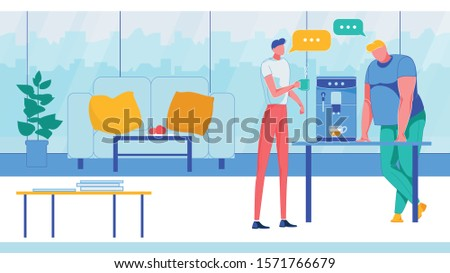 Coworking Office with Two Man Talking Flat Cartoon Vector Illustration. Modern Company, Working Center Indoor with Big Windows. Businesspeople at Shared Workplace. Drinking Coffee.