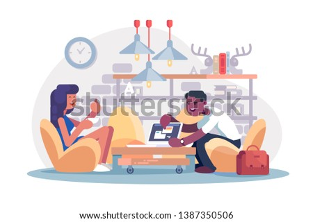 Coworking office work vector illustration. Afro-american man demonstrating to woman tablet app. Girl showing ok symbol flat style concept. Two colleagues working together