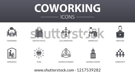 coworking simple concept icons set. Contains such icons as creative office, collaboration, workplace, sharing economy and more, can be used for web, logo, UI/UX