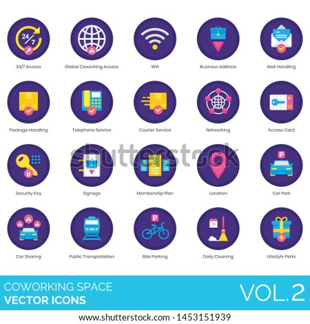 Coworking space icons including wifi, business address, mail handling, package, courier, card, security key, signage, membership, location, car sharing, bike parking, daily cleaning, lifestyle perks.