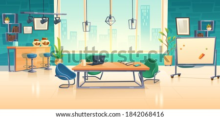 Coworking space interior, empty office business center with computer on desks, comfortable armchairs and coffee break zone. Area for teamwork, freelance shared workplace cartoon vector illustration