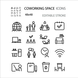 Coworking space , work , development  line icon set vector illustration. Editable stroke.