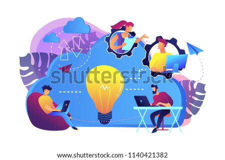 Coworking team of users connected by cloud computing and light bulb. Online collaboration, remote business management, wireless computing service concept, violet palette. Vector isolated illustration.