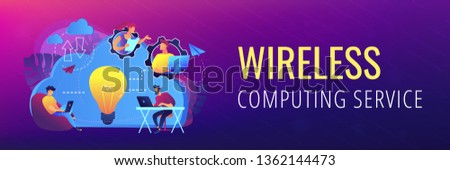 Coworking team of users connected by cloud computing and light bulb. Online collaboration remote business management, wireless computing service concept, violet palette. Header, footer banner template