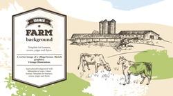 Cows graze near the farm. Rustic landscape style sketch. Retro illustration. Horizontal banner