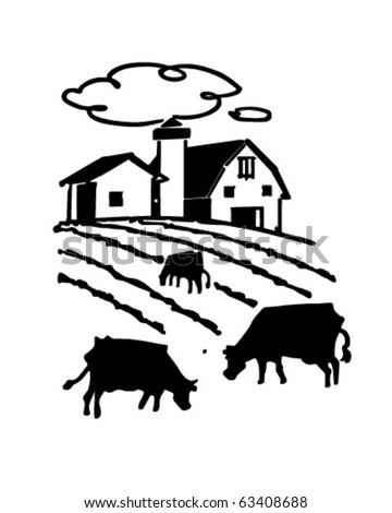 Cows Grazing On Farm - Retro Clipart Illustration