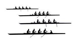 Coxed Rowing Fours Silhouettes