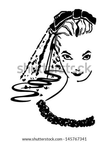 Coy Bride - Retro Clip Art Illustration