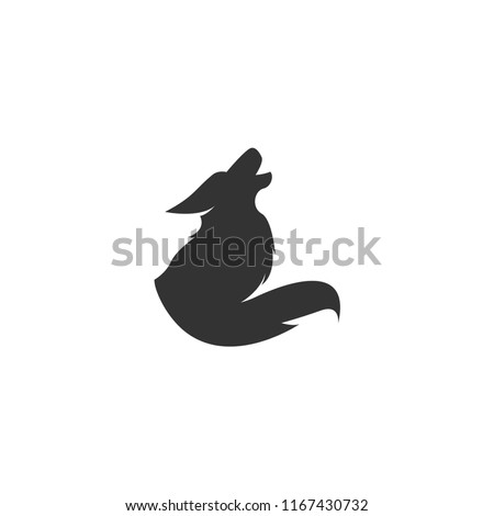Coyote Logo Template vector icon illustration design. Coyote howling logo design mark. Coyote logo. Coyote icon.