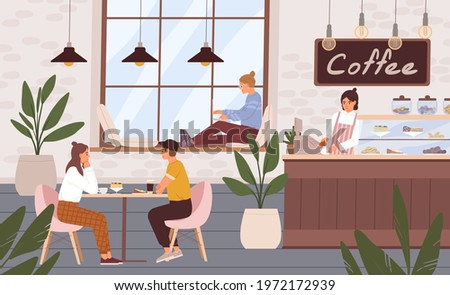 Cozy and relaxing coffee shop interior with people. Barista and customers inside modern cafe. Men and women resting in cafeteria or coffeehouse. Colored flat vector illustration of coffeeshop