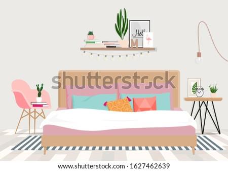 cozy bedroom in pastel colors