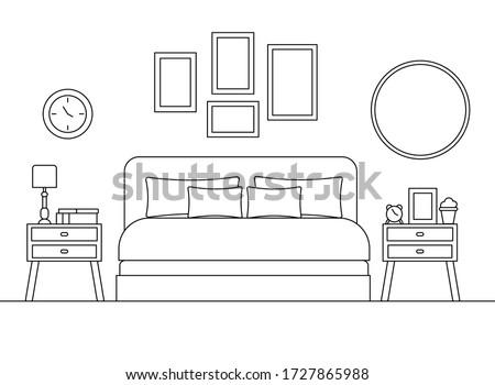 cozy bedroom linear interior