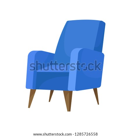 Cozy blue armchair with wooden legs. Comfortable chair for living room. Soft furniture. Flat vector icon