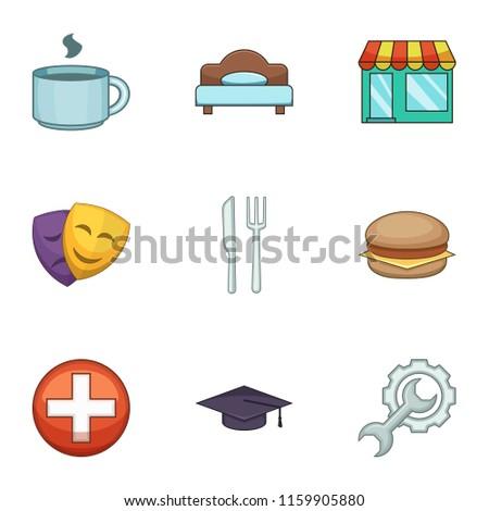cozy cafe icons set cartoon