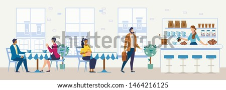 Cozy Cafeteria, Comfortable Confectionery, City Restaurant or Coffee Shop Flat Vector Interior. Multinational Female and Male Clients or Visitors Sitting at Tables, Buying Coffee on Bar Illustration