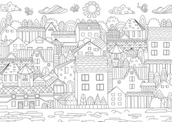 cozy cityscape for your coloring book