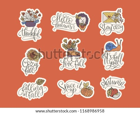 cozy fall vector lettering set