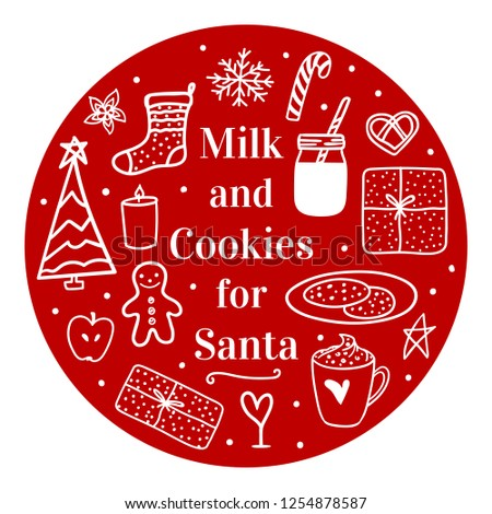 Cozy hand drawn on round. Milk cocoa and cookies for Santa. Vector set illustration concept Merry Christmas mood isolated on white background - Shutterstock ID 1254878587