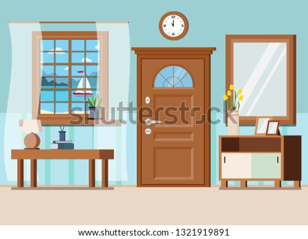 Cozy home entrance hall interior background with furniture: coffee table, wall clock, plant, lamp, window with seascape view, mirror, chest of drawers, door. Flat style vector cartoon illustration.