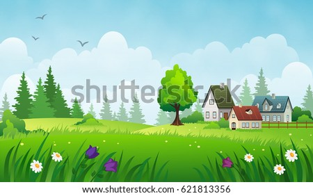 cozy houses on a meadow summer