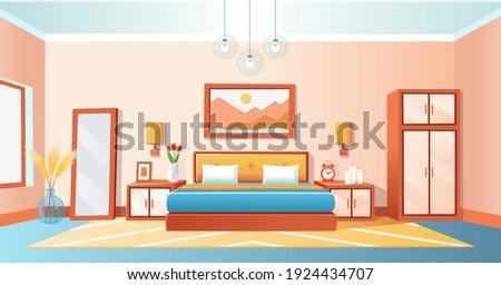 Cozy interior bedroom with bed, wardrobe, bedside tables, mirrored, alarm clock, vase, chandeliers. Vector cartoon illustration.