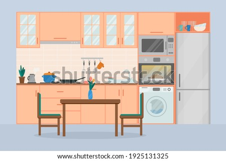 Cozy kitchen interior, flat vector illustration. Refrigerator, oven, microwave, washing machine, flowerpot, dishes, dining table and chairs.