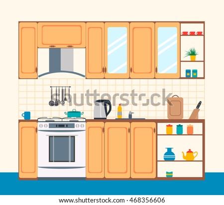 cozy kitchen interior in flat