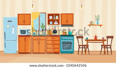 Cozy kitchen interior with furniture and stove, cupboard, dishes, fridge and utensils. Table with chairs. Flat cartoon style vector illustration.