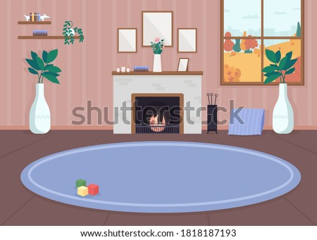 Cozy living room flat color vector illustration. Inside residential house. Carpet on floor. Furnished mansion. Autumn background in window. Home 2D cartoon interior with fireplace on background