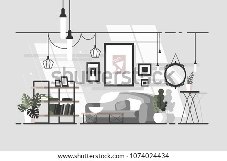 Cozy living room. Stylish interior with sofa. Vector illustration - Shutterstock ID 1074024434