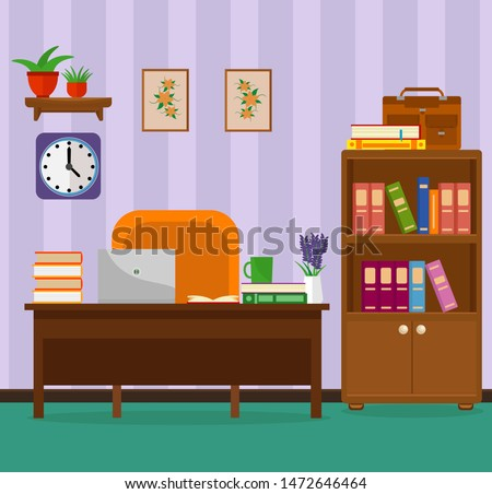 Cozy office with a Desk, laptop, bookcases and books. Vector illustration on the theme of the workplace interior.