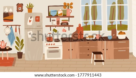 Cozy rustic hand drawn kitchen interior vector flat illustration. Colorful stove, wooden table, cooking utensils and decorative elements. Inside panorama of cuisine at residential house