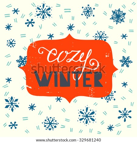 cozy winter hand lettering and...