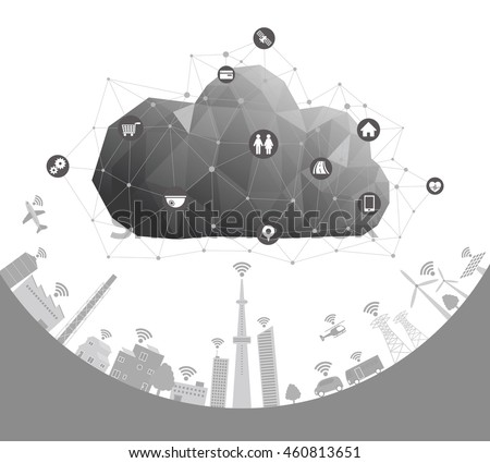 CPS(Cyber-Physical System) concept image illustration, Cloud Computing, Internet of Things