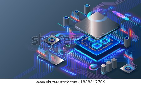 CPU. Abstract digital chip computer processor and electronic components on motherboard or circuit board. Technology develop electronic devices on microchip or microprocessor, hardware engineering. AI.