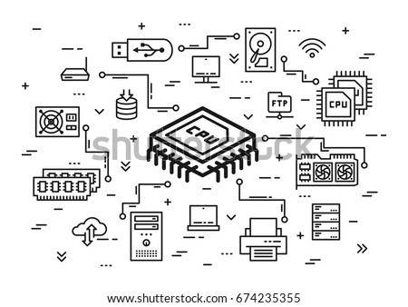 CPU chip and computer components vector illustration. Hardware elements (usb card, cpu chip, keyboard, ram memory, hdd, processor, etc) line art. Computer system configuration graphic design.