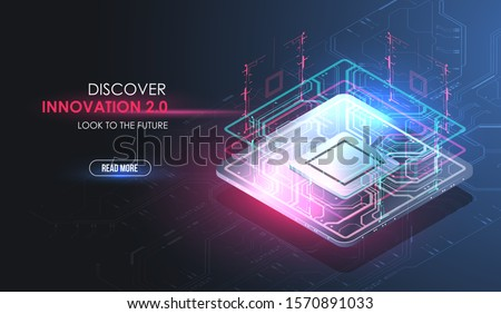 CPU concept with futuristic HUD elements. Digital chip. AI. Circuit board. Technology background. Futuristic design of an Artificial Intelligence chip with Tech elements.
